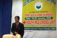 Inaugural of First aid and home nursing training – JCD B.Ed. college – 16.01.2020
